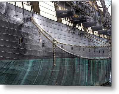 Side Of The Uss Constellation Navy Ship In Baltimore Harbor Metal Print by Marianna Mills
