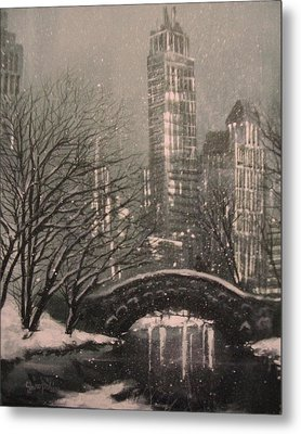 Snow In Central Park Metal Print by Tom Shropshire