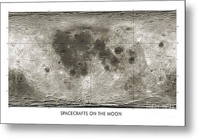Spacecraft On The Moon, Lunar Map Metal Print by Detlev van Ravenswaay