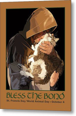 St. Francis With Cat Metal Print by Kris Hackleman