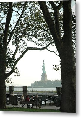 Statue Of Liberty From Ellis Island Metal Print by Frank Mari