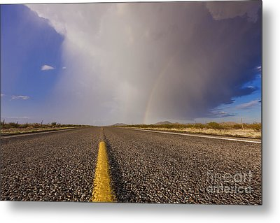 Storm And Rainbow Along The Highway Metal Print by Jeremy Woodhouse
