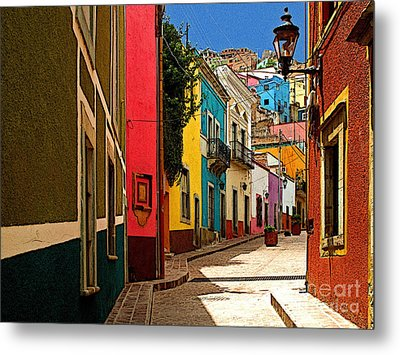 Street Of Color Guanajuato 2 Metal Print by Mexicolors Art Photography