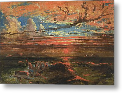 Sunset At Sea After A Storm Metal Print by Francis Danby
