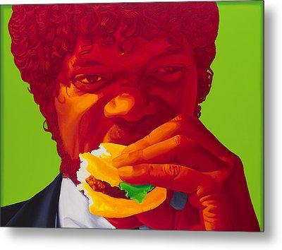 Tasty Burger Metal Print by Ellen Patton