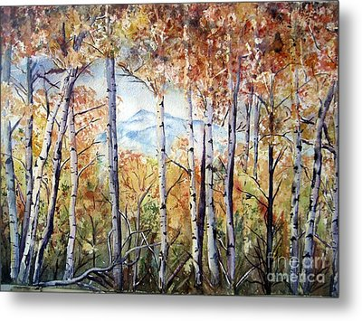 Tetons In Autumn Metal Print by Patricia Pushaw