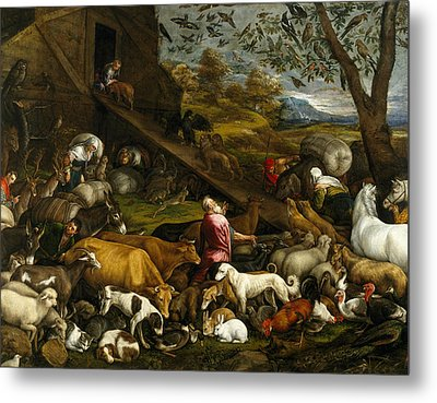 The Animals Entering Noah's Ark Metal Print by Jacopo Bassano