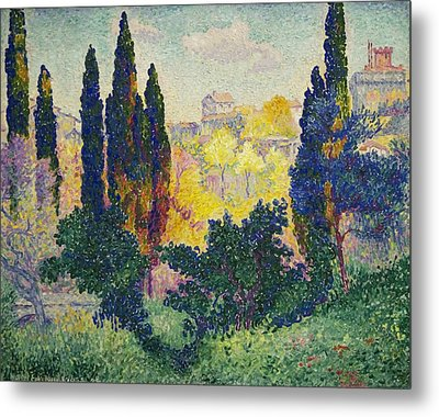 The Cypresses At Cagnes Metal Print by Henri-Edmond Cross