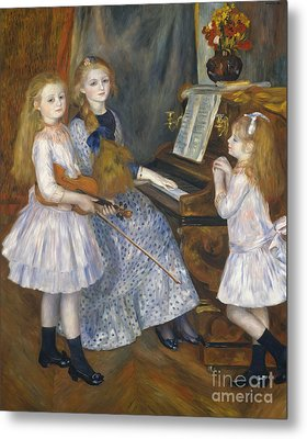 The Daughters Of Catulle Mendes At The Piano, 1888 Metal Print by Pierre Auguste Renoir