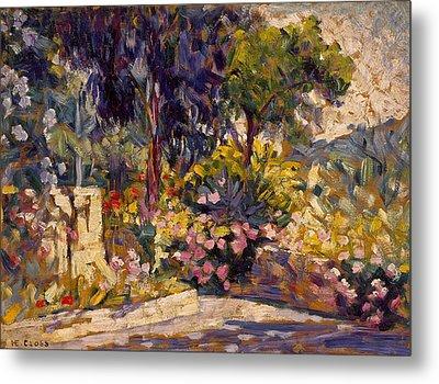 The Flowered Terrace Metal Print by Henri-Edmond Cross
