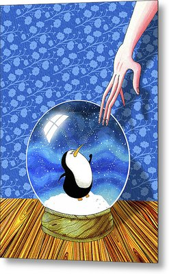 The Penguin Who Didn't Like Snow  Metal Print by Andrew Hitchen