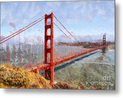 The San Francisco Golden Gate Bridge . 7d14507 Metal Print by Wingsdomain Art and Photography