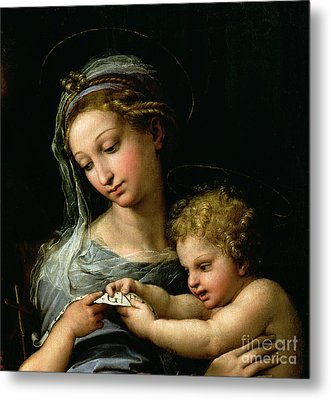 The Virgin Of The Rose Metal Print by Raphael