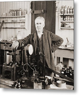 Thomas A. Edison 1847-1931, In His West Metal Print by Everett