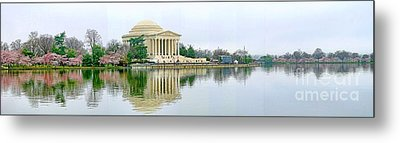 Tidal Basin With Cherry Blossoms Metal Print by Jack Schultz