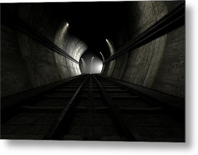 Train Tracks And Approaching Train Metal Print by Allan Swart