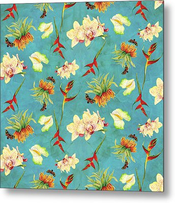Tropical Island Floral Half Drop Pattern Metal Print by Audrey Jeanne Roberts