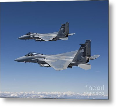 Two F-15 Eagles Conduct Air-to-air Metal Print by HIGH-G Productions