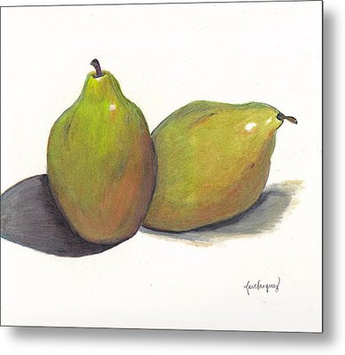 Two Green Pears Metal Print by Lea Velasquez