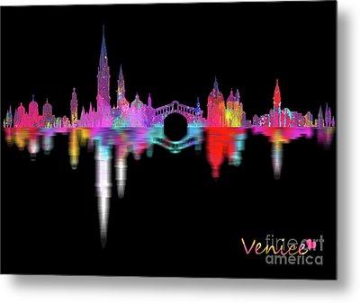 Venice Skyline  Italy -night Metal Print by Prar Kulasekara