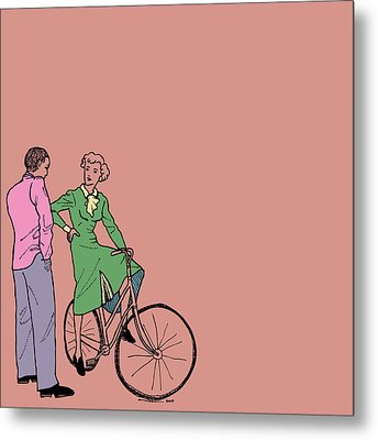 Vintage Bike Couple Metal Print by Karl Addison