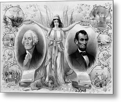 Washington And Lincoln Metal Print by War Is Hell Store
