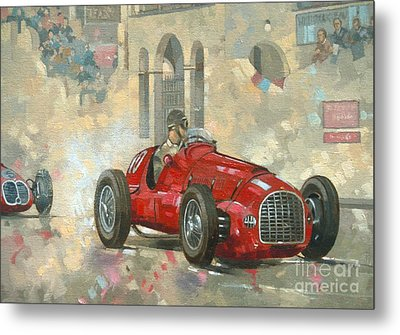 Whitehead's Ferrari Passing The Pavillion - Jersey Metal Print by Peter Miller