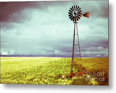 Windmill Against Autumn Sky Metal Print by Gordon Wood