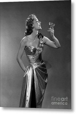 Woman In Metallic Dress, C.1950s Metal Print by Debrocke/ClassicStock
