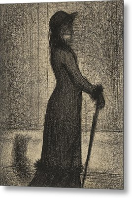 Woman Strolling Metal Print by Georges Pierre Seurat