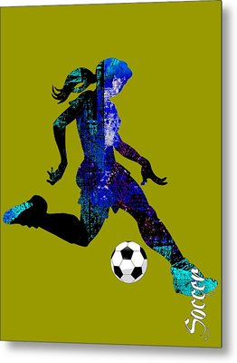 Womens Girls Soccer Collection Metal Print by Marvin Blaine