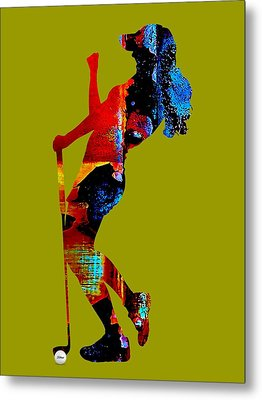 Womens Golf Collection Metal Print by Marvin Blaine