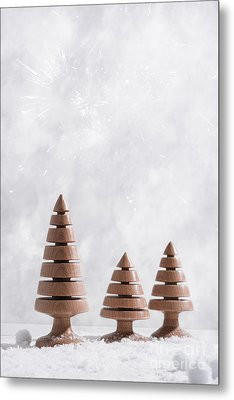 Wooden Christmas Tree Decorations Metal Print by Amanda And Christopher Elwell