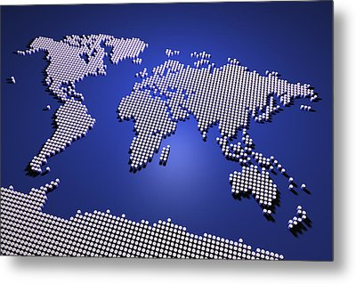 World Map In Blue Metal Print by Michael Tompsett