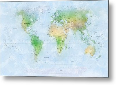 World Map Watercolor Metal Print by Michael Tompsett