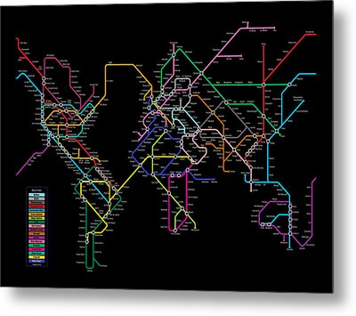 World Metro Map Metal Print by Michael Tompsett