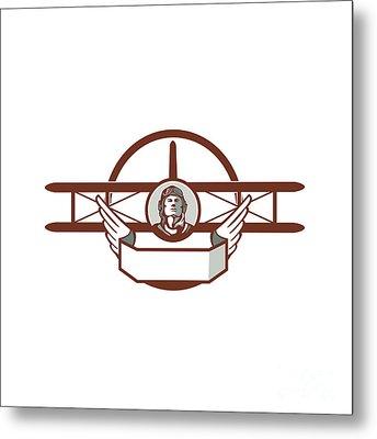 World War 1 Pilot Airman Spad Biplane Circle Retro Metal Print by Aloysius Patrimonio