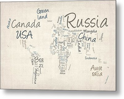 Writing Text Map Of The World Map Metal Print by Michael Tompsett