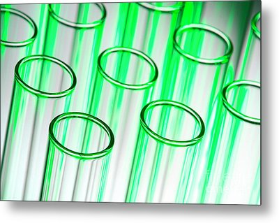 Test Tubes In Science Research Lab Metal Print by Olivier Le Queinec