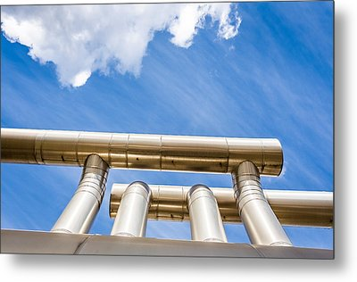 Pipes At Nesjavellir Geothermal Power Metal Print by Panoramic Images