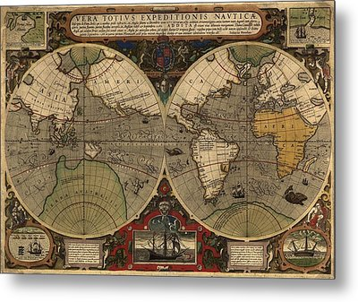 1595 World Map Shows Routes Metal Print by Everett