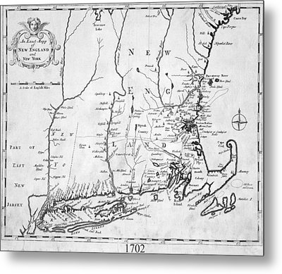 1702 Map Of New England And New York Metal Print by Toby McGuire