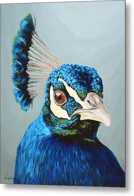 Peacock Metal Print by Lesley Alexander