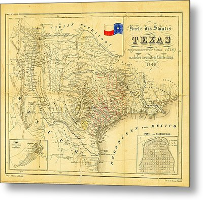 1849 Texas Map Metal Print by Bill Cannon