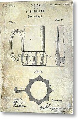 1873 Beer Mug Patent Metal Print by Jon Neidert