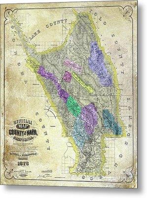 1876 Napa Valley Map Metal Print by Jon Neidert