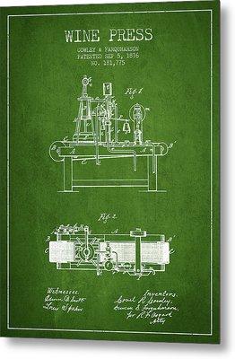 1876 Wine Press Patent - Green Metal Print by Aged Pixel