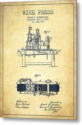 1876 Wine Press Patent - Vintage Metal Print by Aged Pixel