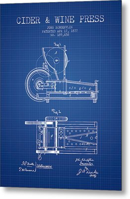 1877 Cider And Wine Press Patent - Blueprint Metal Print by Aged Pixel