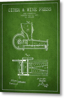 1877 Cider And Wine Press Patent - Green Metal Print by Aged Pixel